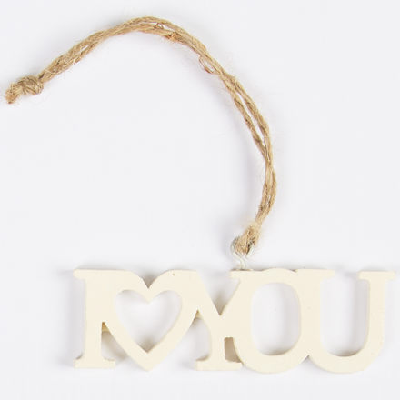 Little I Love You Laser Cut Hanging Decoration Cream